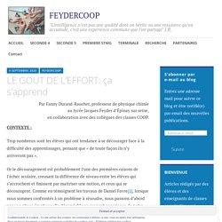 LE GOUT DE L'EFFORT: ça s'apprend – FEYDERCOOP