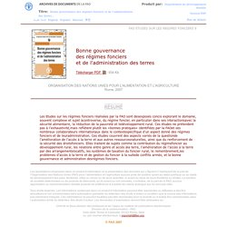 Bonne gouvernance des régimes fonciers et de l'administration des terres