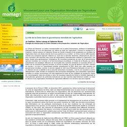 Le rôle de la Chine dans la gouvernance mondiale de l'agriculture