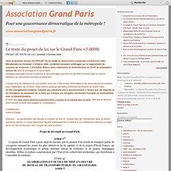 Le texte du projet de loi sur le Grand Paris v3 (RIM) - Associat