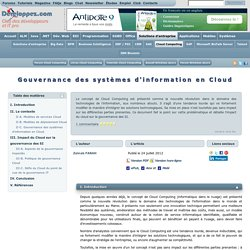Gouvernance des systèmes d'information en Cloud