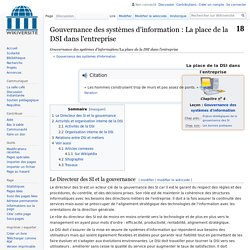 Gouvernance des systèmes d'information/La place de la DSI dans l'entreprise