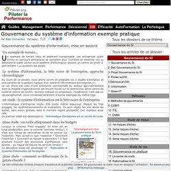 Gouvernance du système d'information exemple pratique