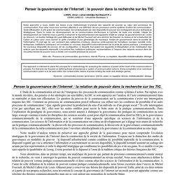 Penser la gouvernance de l'Internet : le pouvoir dans la recherche sur les TIC - Articles du congrès 2008 de la SFSIC