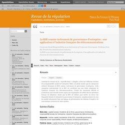La RSE comme instrument de gouvernance d'entreprise: une application à l'industrie française des télécommunications