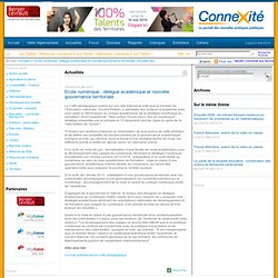 Ecole numérique : délégué académique et nouvelle gouvernance territoriale