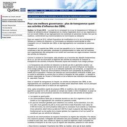 Communiqué du 12 juin 2015 - Pour une meilleure gouvernance: plus de transparence quant aux activités d'influence des OBNL
