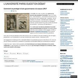 Comment se protéger d'une gouvernance à la sauce LRU? » Élections à l'université Paris Ouest