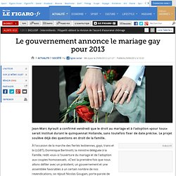 France : Bertinotti annonce le mariage homosexuel pour 2013