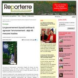 Les 44 agressions du gouvernement de M. Ayrault contre l'écologie