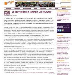 INFOGM - JUILLET 2013 - ITALIE – Le gouvernement interdit les cultures d'OGM