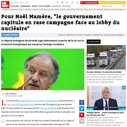 """Pour Noël Mamère, """"le gouvernement capitule en rase campagne face au lobby du nucléaire"""""""