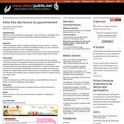 Fiche Site des forums du gouvernement