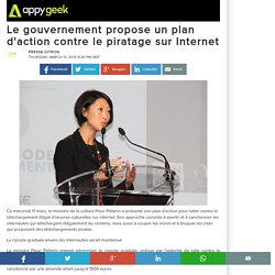 12/03/15 Le gouvernement propose un plan d'action contre le piratage sur Internet