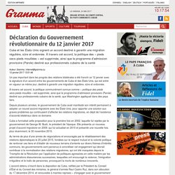 Déclaration du Gouvernement révolutionnaire du 12 janvier 2017 › Cuba › Granma - Official voice of the PCC