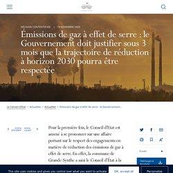 Émissions de gaz à effet de serre : le Gouvernement doit justifier sous 3 mois que la trajectoire de réduction à horizon 2030 pourra être respectée
