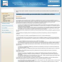 Conclusions de la concertation gouvernementale relative à l'accessibilité datée du 26 février — FNOGEC