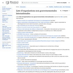 Liste d'organisations non gouvernementales internationales