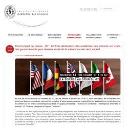 G7 : les trois déclarations des académies des sciences aux chefs des gouvernements pour réassoir le rôle de la science au sein de la société