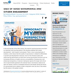 IDEA OF GOOD GOVERNANCE AND CITIZEN ENGAGEMENT - B.PAC