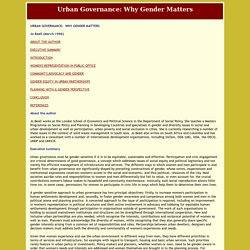 Urban Governance: Why Gender Matters