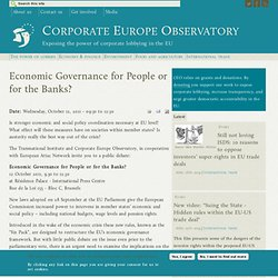 Economic Governance for People or for the Banks?