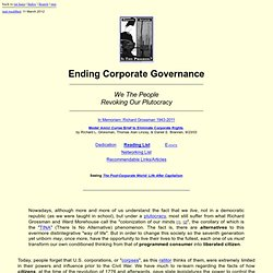 Ending Corporate Governance: Revoking Our Plutocracy