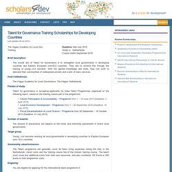 Talent for Governance Training Scholarships for Developing Countries