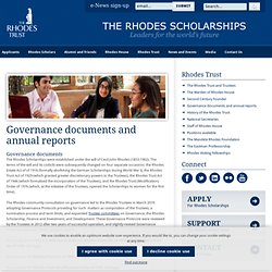 Key governance documents - The Rhodes Trust