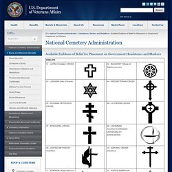 Available Emblems of Belief for Placement on Government Headstones and Markers - National Cemetery Administration