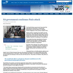 SA government condemns Paris attack:Thursday 8 January 2015