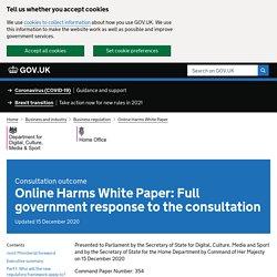 Online Harms White Paper - Govt response (2020)