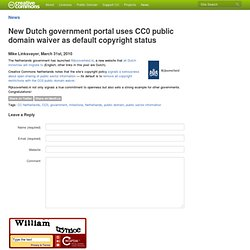 New Dutch government portal uses CC0 public domain waiver as def
