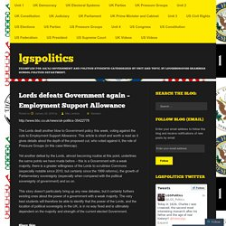 Lords defeats Government again – Employment Support Allowance