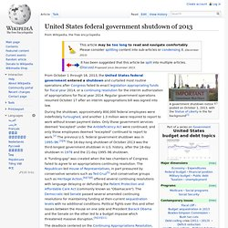 WIKIPEDIA 01/10/13 United States federal government shutdown of 2013