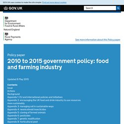 GOV_UK 08/05/15 2010 to 2015 government policy: food and farming industry