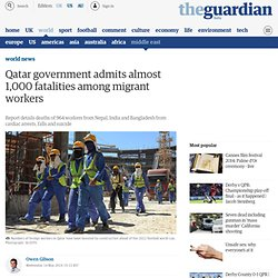 Qatar government admits almost 1,000 fatalities among migrant workers