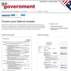 Go Government - How to apply for federal jobs and internships - Create your federal resume