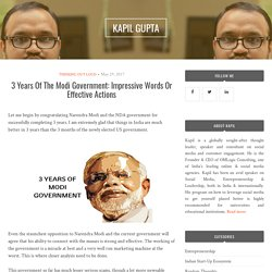 3 Years Of The Modi Government: Impressive Words Or Effective Actions – KAPIL GUPTA
