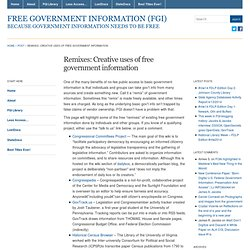 Remixes: Creative uses of free government information | Free Government Information (FGI)