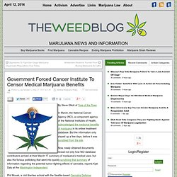 Government Forced Cancer Institute To Censor Medical Marijuana Benefits