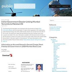 Indian Government Dossier Linking Mumbai Terrorists to Pakistani ISI
