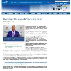 Government to intensify Operation Fiela:Sunday 17 May 2015