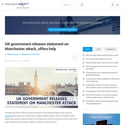 UK government releases statement on Manchester attack, offers help