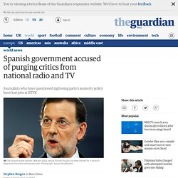 Spanish government accused of purging critics from national radio and TV