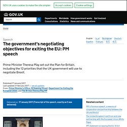 The government's negotiating objectives for exiting the EU: PM speech