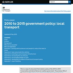 2010 to 2015 government policy: local transport