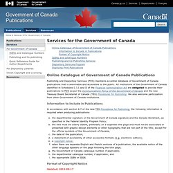 Services for the Government of Canada - Government of Canada Publications