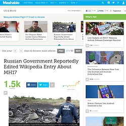 Russian Government Reportedly Edited Wikipedia Entry About MH17