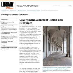 Government Document Portals and Resources - Finding Government Documents - Research Guides at Library of Congress